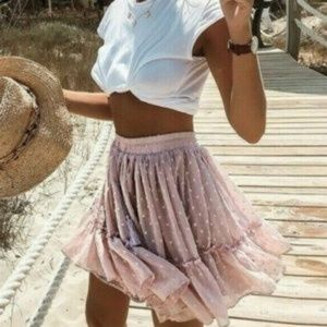 Dresses & Skirts - 🎉🎉HP🎉🎉 Boho Polka Dot Blush Chiffon Mini Skirt